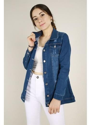 Z Giyim Kadın  Siyah  Yıpratmalı Yıkamalı Slimfit Kot Ceket Mavi